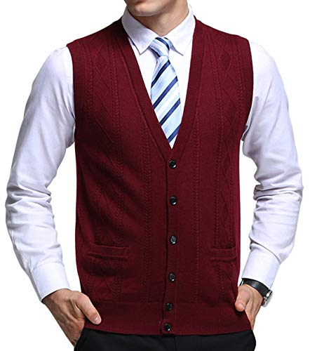 chouyatou Men's V-Neck Jacquard Lightweight Wool Knitwear Vest Sweater Waistcoat Pocket (Medium, Dark Red)
