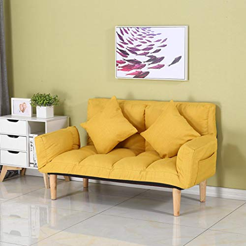 Convertible Sectional Sofa Couch Futon Sofa Bed Sleeper, 2-Seat Folding Small Couch with 2 Pillows & Foldable Armrests for Living Room, Bedroom, Office, Apartment, Dorm, Studio and Small Space