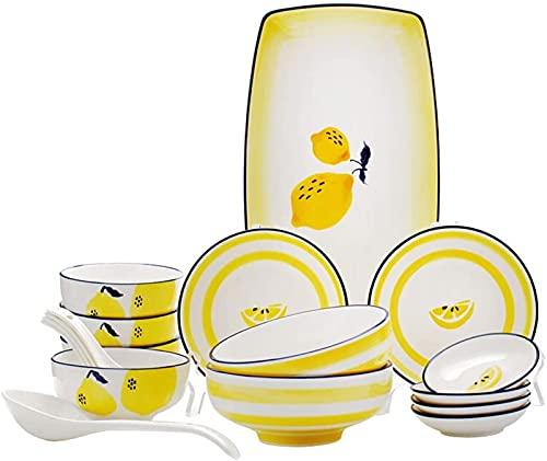 Juego de Platos, Juego de vajillas de cerámica con 18 Piezas, Placa/Placa/Cuchara | Conjuntos de Cena, Conjunto de combinación de Porcelana de limón Dibujado a Mano, Amarillo, Euro Ceramica
