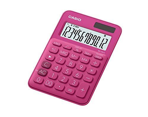 CASIO Tischrechner MS-20UC-RD, 12-stellig, in Trendfarben, Steuerberechnung, Zeitumrechnung, Solar-/Batteriebetrieb
