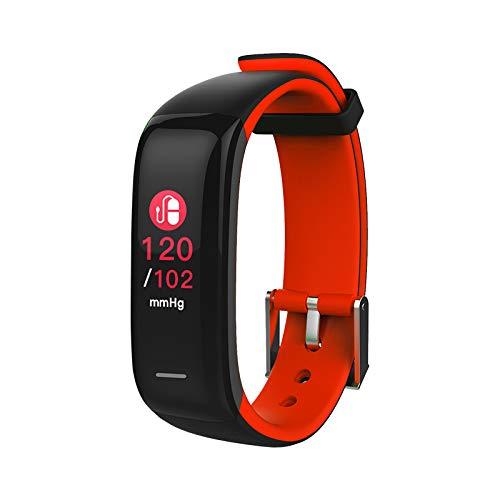 Novasmart -runR II Fitness Tracker, Activity Tracker, display a colori, cardiofrequenzimetro e pressione sanguigna, monitoraggio del sonno, contacalorie, contapassi - Nero rosso