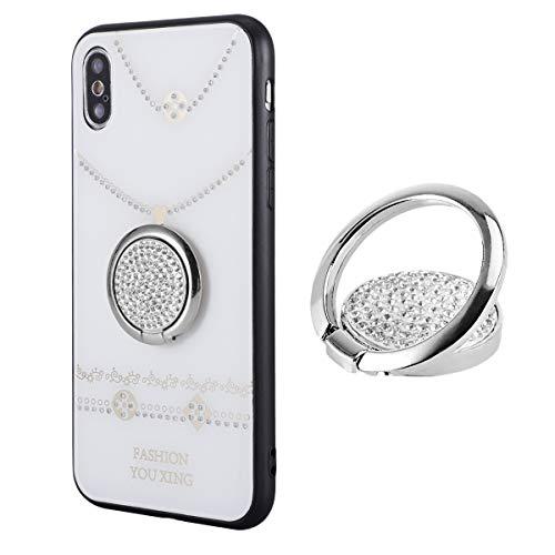 IYOYI Lujo Cristal Anillo Soporte móvil 360º Rotación Anilla móviles para iPhone 11 Samsung Galaxy LG Moto Sony y más (Ronda-Plata)