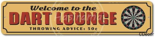 KODY HYDE Metall Poster - Dart Lounge - Vintage Blechschilder Retro Dekoration Schild Aluminium Wandkunstplakat Zum Bar Cafe Büro Pub Wohnzimmer Garage