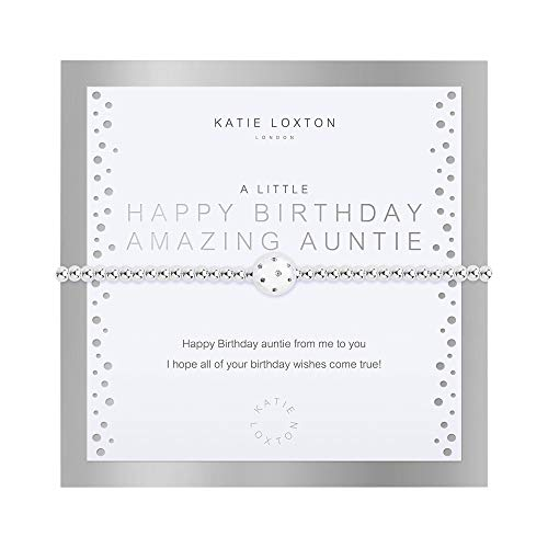 Katie Loxton a Little Beautifully Boxed Happy Birthday Amazing Auntie Womens Stretch Adjustable Band Fashion Charm Bracelet