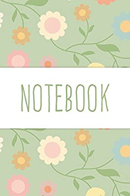 Pale Green and Cream Flower Patterned Notebook