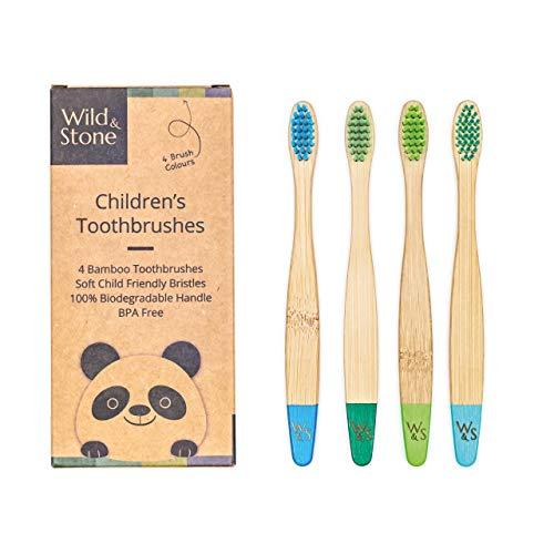 Wild & Stone | Cepillo de dientes de bambú orgánico para niños | Quattro Colori di Acqua | Soffice fibra setole | Mango 100% biodegradable | Cepillos de dientes veganos orgánicos