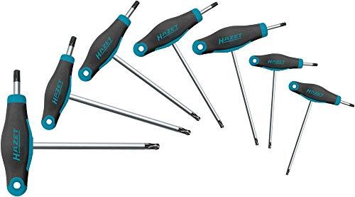 Hazet Winkelschraubendreher-Satz (Kurze und Lange Klinge für flexiblen Einsatz, Torx-Profil, 7 Werkzeuge von Größe T9 bis T40) 829KKT/7, dunkelblau