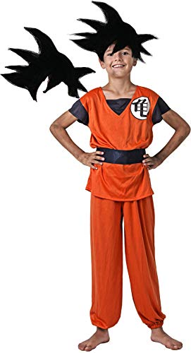Gojoy shop- Disfraz de Son Goku de Guerrero Z de Dragon Ball para Niño Carnaval (Contiene Camiseta, Cinturón y pantalón, 4 Tallas Diferentes) (7-9 años)