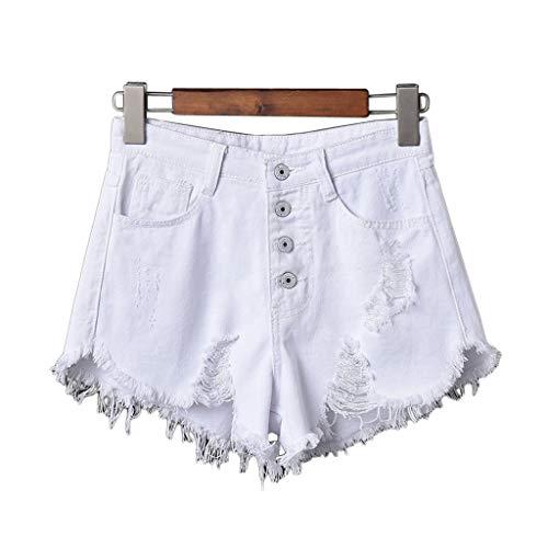 Haptian dames sexy hoge taille kwast verscheurde jeans zomer grote maat denim shorts broek (wit-S-1 stuks)