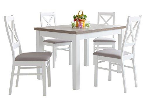 mb-moebel Esstisch mit 4 stühlen: 110x70 oder 120x80 weiß und Drift, Esszimmertisch Tischgruppe Essgruppe - BONA (MDF-Platte + Naturfurnier, 120x80cm)