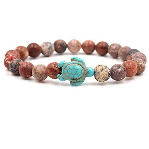 INSEET Handgemachte runde Naturstein Perlen Stretch einfarbige Schildkröte Armbänder, rote Leopardenfell