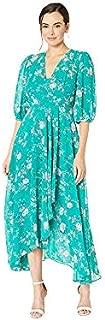 Calvin Klein Womens CD9H28Q7 Three Quarter Sleeve Maxi Dress with Surplice Neckline 3/4 Sleeve Dress - Multi