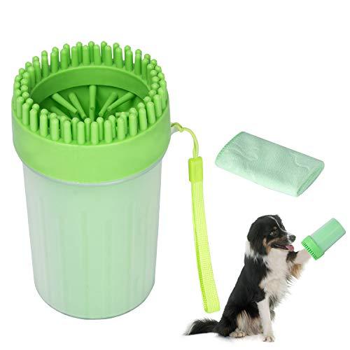 MELERIO Limpiador de huellas de perro, limpiador portátil de mascotas con toalla, cepillo de limpieza taza de cerdas de silicona suave y pies de perro