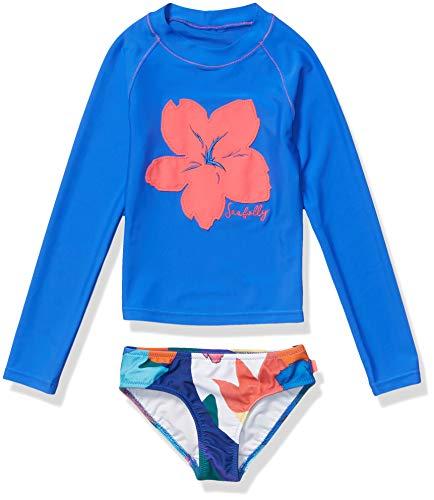 Seafolly Girls' Big Long Sleeve Surf Set Swimsuit, Rainbow Crush Multi, 6