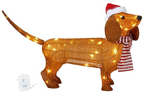 Mini LED Weichnachts Dackel 45cm hoch mit 45 integrierten LEDs zusammenfaltbar für Innen und Außen Gartendekoration Winterdekoration