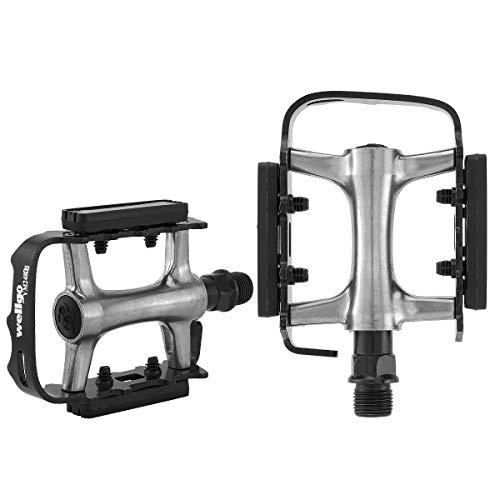 MidGard Pedales de Bicicleta Pedales de aleación de Aluminio/Acero para Bicicleta 9/16 Pulgadas para MTB e-Bike Trekking BMX Freeride, etc.Plata