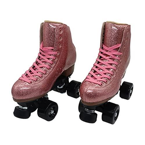 Unisex-Rollschuhe - Zweireihige Skating-Räder, Vierrädriges Rosa Fluoreszierendes Leder, Einstellbare Bremse, Kunststoff-Stahlfuß-Rollschuhe, Für Unisex-Erwachsene Anfänger Im Freien A,34