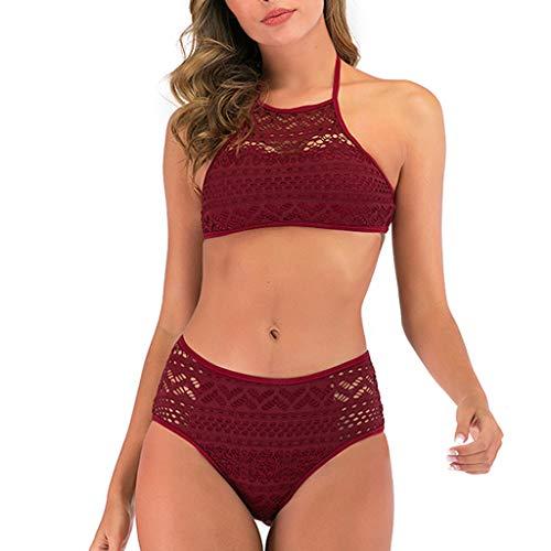 Lulupi Bademode Damen Spitze Bikini Set Push Up High Neck Badeanzug mit Netz, Brazilian Bikini Frauen Neckholder Halter Zweiteiliger Badeanzüge Monokini Sport Schwimmanzug Beachwear