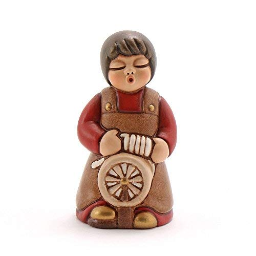 THUN® - Donna Tessitrice con Arcolaio - Versione Rossa - Statuine Presepe Classico - Ceramica - I Classici