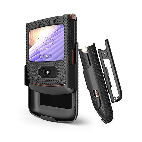 BELTRON mit Clip für Motorola RAZR 5G (ATundT T-Mobile), aufsteckbar, Schutzhülle drehbarem Gürtelholster, integrierter Ständer, Moto Flip Phone (2020) XT2071, Schwarz