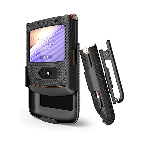 BELTRON Case with Clip for Motorola RAZR 5G (AT&T / T-Mobile), Snap-On Protective Cover with Rotating Belt Holster Combo & Built in Kickstand for Motorola Moto RAZR 5G Flip Phone (2020) XT2071 - Black