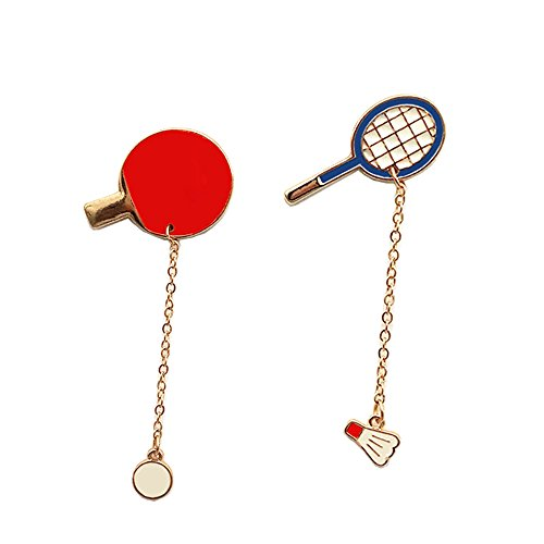 Fashion Cartoon Enamel Brooch Pins Set for Unisex Child Women's Clothing Decorate (Table Tennis & Badminton Set)