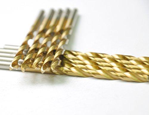 "DRILLFORCE HSS Jobber Length 10 PCS,5/32"" x 3-1/8""Titanium Coated Twist Drill Bits, Metal drill, ideal for drilling on mild steel, copper, Aluminum, Zinc alloy etc. Pack In Plastic Bag (5/32)"