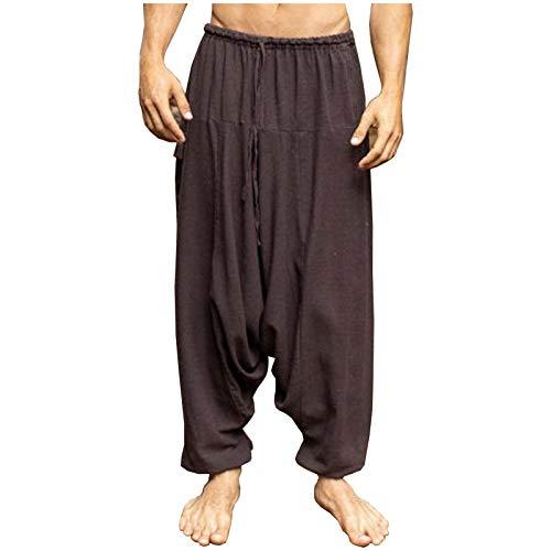 AJJAYA Aladdin Pantalones de algodón con Entrepierna caída para Hombre Marrón Yogi Ashtanga Asana Harem Alibaba Yoga Pantalones de Bolsillo afganos cómodos Tai chi Gong