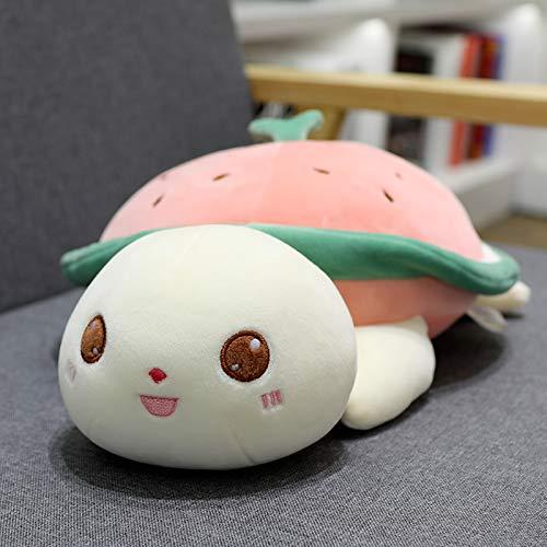 mangege Niedliche kleine Schildkröte Plüschtier Kissen Puppe Bett mit Schlafpuppe Puppe Geburtstagsgeschenk Mädchen Erdbeer Schildkröte 58 cm