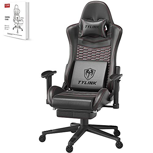TYLINK Gaming Stuhl, Gaming Chair Sessel PC Racing Ergonomischer Stuhl Gamer Stühle Bürostuhl, Einstellbare Armlehne, Schreibtischstuhl mit Kopfstütze Lendenkissen Fußstützen, Atmungsaktiver Stoff