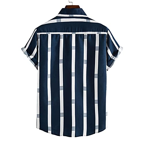 Camisa hawaiana Funky con rayas verticales impresas, para el tiempo libre, para el trabajo, las vacaciones, la playa, holgada, informal, con aspecto de lino, azul marino, L