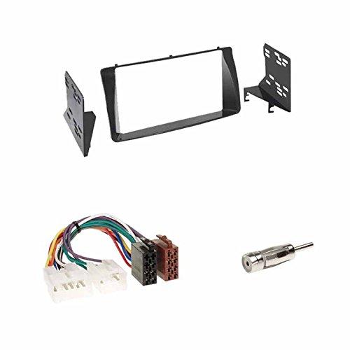 Autoradio Doppel-DIN 2-DIN 2 DIN Blende Einbaurahmen Radioblende schwarz + ISOAdapter Radioanschlusskabel + Antennenadapter für Toyota Corolla (E12) 2002->2006 / Corolla Verso (E12) 2001->2009