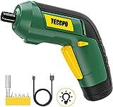 Atornillador Eléctrico, TECCPO Destornillador Inalámbrico 3.6V, Par Máximo de 4 Nm, LED Luz,...