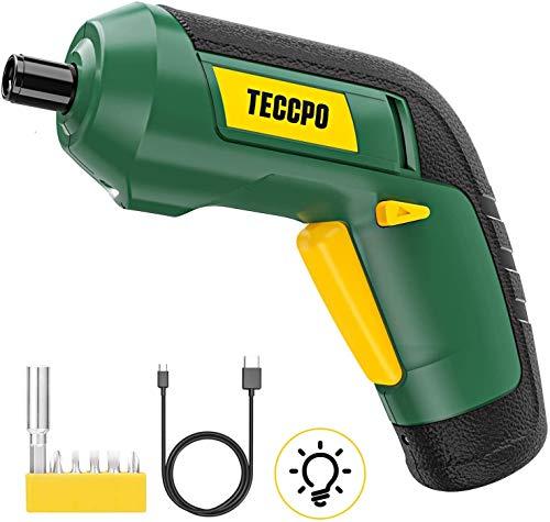 Atornillador Eléctrico, TECCPO Destornillador Inalámbrico 3.6V, Par Máximo de 4 Nm, LED...