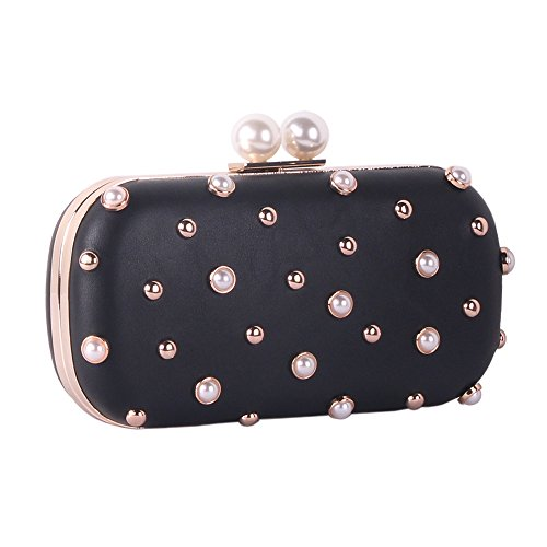 Pearls and Studs Clutch Purse Handbag with Gold Metal Fittings For Women, Crossbody Evening Bag in Hardcase with Strap Chain For Party Ideal Valentine's Day (black)