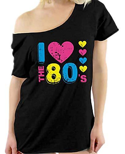 Camiseta Mujer 80s - Amo los años 80 - Camisa - Camiseta - Manga Corta - niña - Idea de Regalo - Color Negro - Talla XL i Love The 80