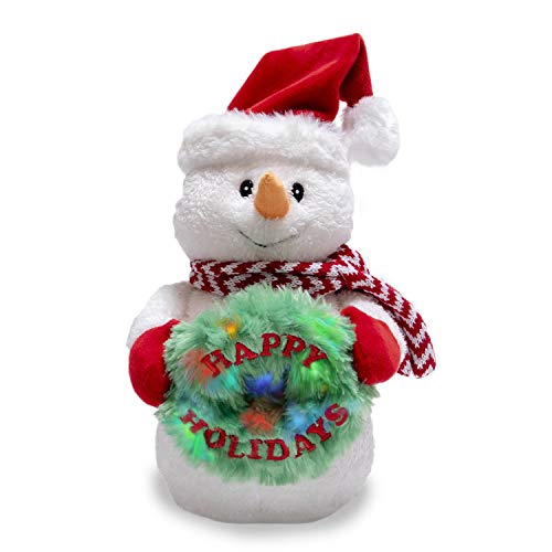 Cuddle Barn | Jolly Jack Frost 12' Animated Christmas Stuffed Animal Plush Toy | Dancing Snowman with Moving Hat and Wreath That Lights Up | Plays We Wish You a Merry Christmas