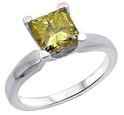 SILVERHUB Anillo de compromiso amarillo de 1,0 quilates, corte princesa de 5,5 mm, diamante CZ solitario para mujer en plata 925 chapada en oro blanco de 14 quilates, Metal no precioso., circonita,
