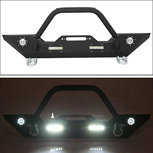 Front Bumper W/Winch Plate & LED Lights D-rings for 2007-2018 Jeep Wrangler JK Front Bumper