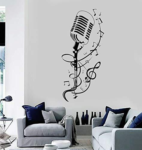 SUPERSTICKI Retro Microfoon standaard met muziekband muziek 50 cm sticker, autosticker, stickers, decal, muurtattoo, van high-performance folie, UV- en wasstraatbestendig,