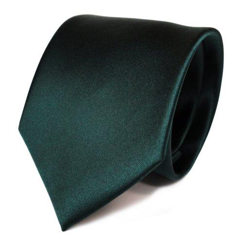 TigerTie Designer Satin Krawatte in grün dunkelgrün tannengrün einfarbig uni