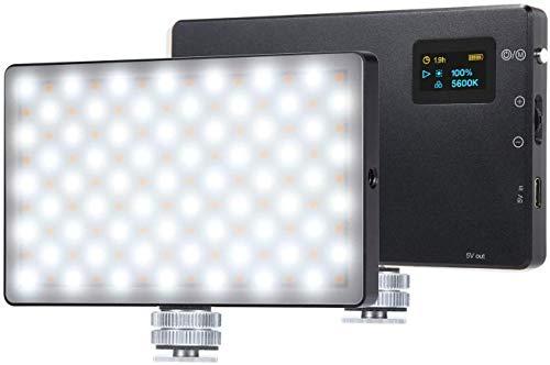 LituFoto Luz de Video LED, Mini Panel de luz portátil para cámara Bicolor Regulable 3200K-5600K Baterías Recargables integradas de 4040 mAh compatibles con cámaras réflex Digitales Sony/Canon/Nikon