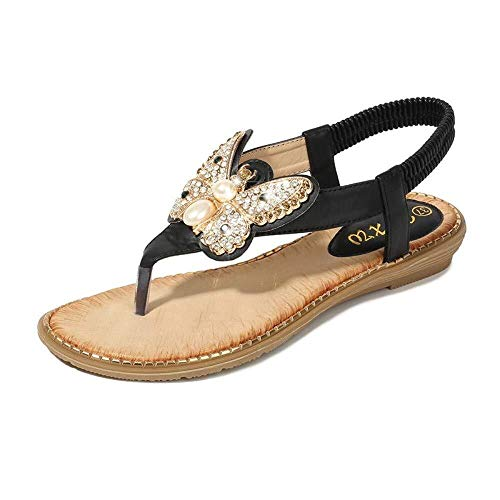 CNWJX Zwarte Sandalen Zomer Pin-Up Boheemse Sandalen Vrouwelijke Strass Vlinder Gesp Elastische Band Dames Schoenen