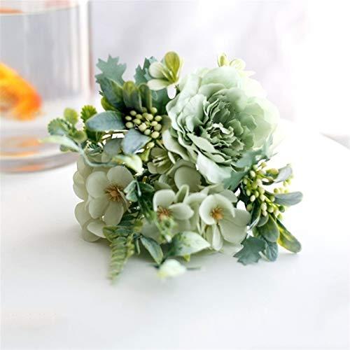 Plantas artificiales para fiestas de Navidad, centros de mesa, decoración de rosas artificiales, decoración para el hogar, boda, ramo de peonías de seda, hortensias (color verde claro)