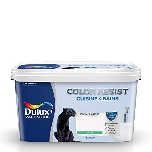 Dulux Valentine Peinture Color Resist Cuisine & Bains - Murs, Plafonds, Boiseries - Satin Blanc 2L