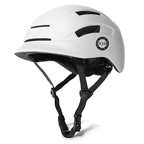 XJD Erwachsene Fahrradhelm Reithelm USB wiederaufladbare Licht städtliche Pendler leichte CE- Zertifizierter verstellbare Multisporthelm für Erwachsenen Männer und Frauen (weiß, L)