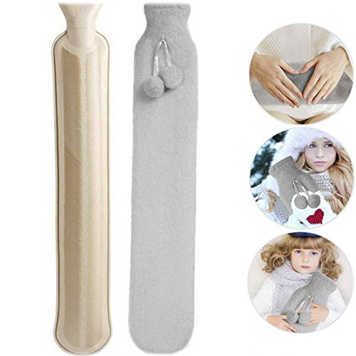 Hot Water Bottle with Cover 2L Super Soft Plush for Childrens, Neck...