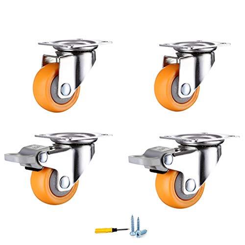 Casters 2-Zoll-Universalräder, 4 Geräuscharme Rollen, Mit Bremsrädern, 360 ° -Drehflexibilität, Verschleißfester Schutzboden, Montagezubehör.