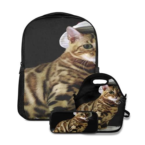Mochila escolar,Gato Sexy Animal con Estampado de Leopardo con Sombrero de Pescador Medio Sentado en Manta de Lana Divertido Estilo Lindo,con bolsa de almuerzo y estuche para lápices para mochila
