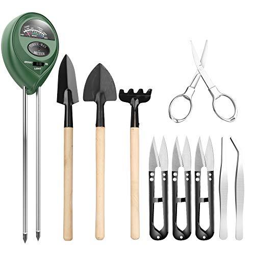 Pancellent Boden Messgerät mit 9-teiligem Bonsai Werkzeug, 3-in-1-Feuchtigkeitssensor/Sonnenlicht/pH-Wert, einschließlich Gartenschere, Faltenschere, Mini-Rechen, Knospe & Trimmer Set